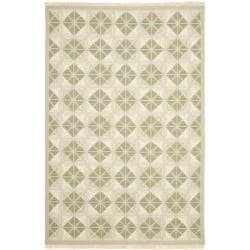 Sumak Flatweave Diamonds Beige Wool Rug (6 x 9)