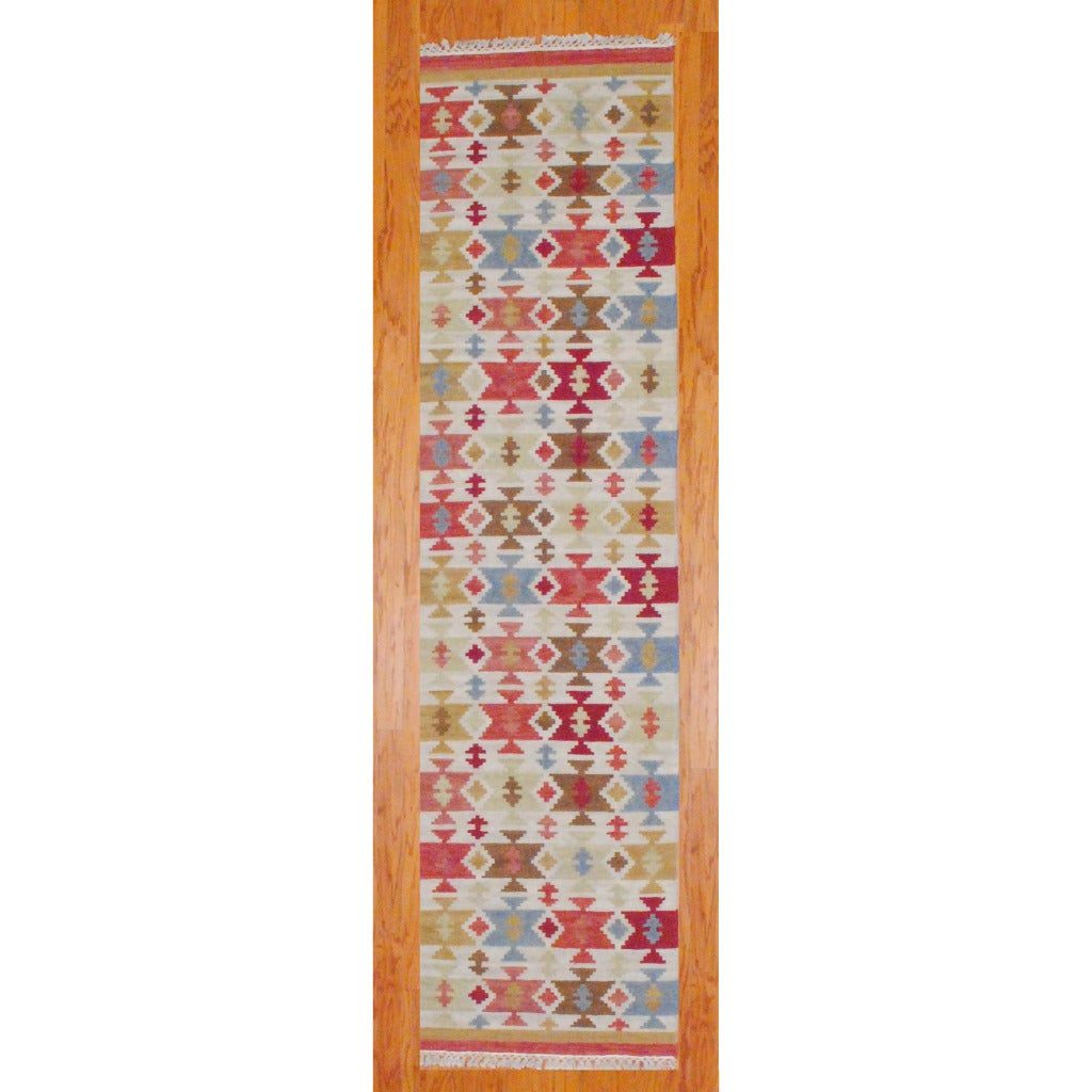 """Indo Hand-Knotted Kilim Ivory-and-Green Wool Runner Rug (2'6"""" x 10"""")"""