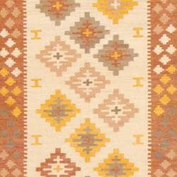 Indo Hand-knotted Kilim Ivory and Rust Wool Rug (4 x 6)