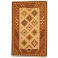 Herat Oriental Indo Hand-woven Kilim Ivory/ Rust Wool Area Rug (4' x 6')