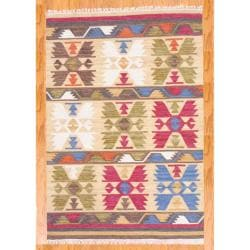 Indo Hand-Knotted Kilim Ivory-and-Green Wool Area Rug (4' x 6')