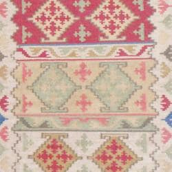Indo Hand-knotted Kilim Ivory/ Green Wool Rug (4 x 6)