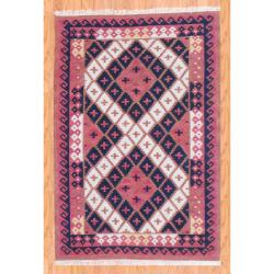 Indo Hand-knotted Kilim Rust and Black Wool Rug (4 x 6)