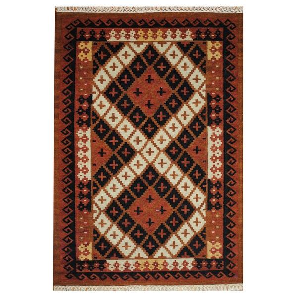 Herat Oriental Indo Hand-woven Kilim Rust/ Black Wool Rug (4' x 6')