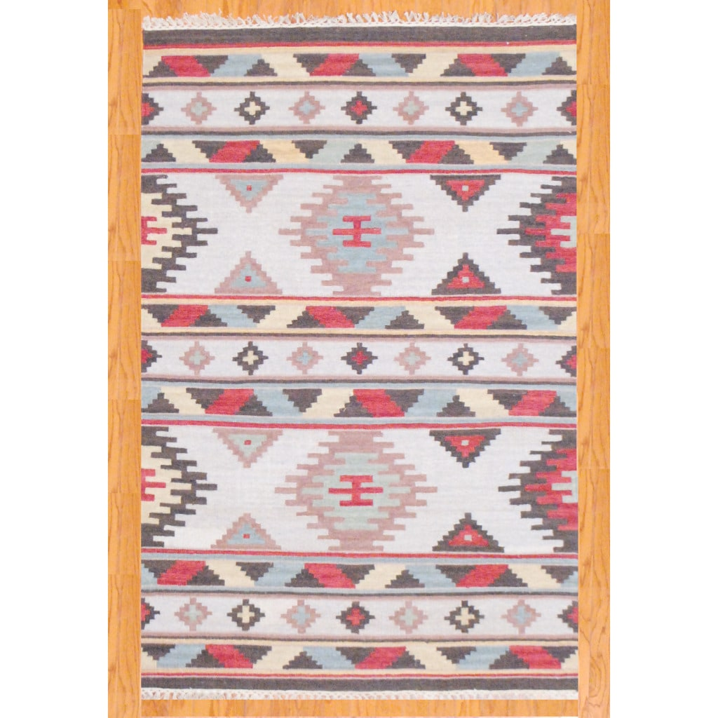 Indo Hand-knotted Kilim Ivory and Blue Wool Rug (4 x 6)
