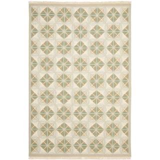 Sumak Flatweave Diamond-Pattern Beige Wool Rug (9 x 12)