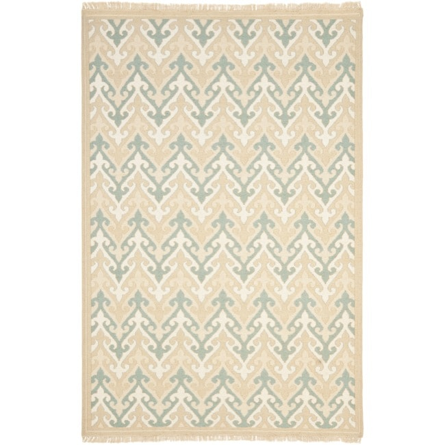 Sumak Flatweave Heirloom Beige Wool Rug (6 x 9)