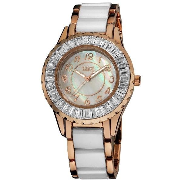 Stainless-Steel Burgi Women's Ceramic White Bracelet Baguette Quartz Watch