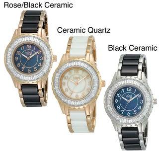 Stainless-Steel Burgi Women's Ceramic Bracelet Baguette Quartz Watch