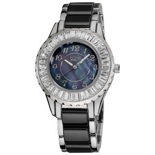 Black Burgi Women's Ceramic Bracelet Baguette Quartz Watch