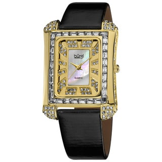 Burgi Women's Rectangular Gold-Tone Water-Resistant Watch with Mother-of-Pearl Crystal
