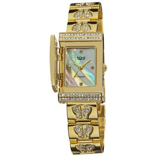 Burgi Women's Diamond Butterfly Cover Quartz Watch