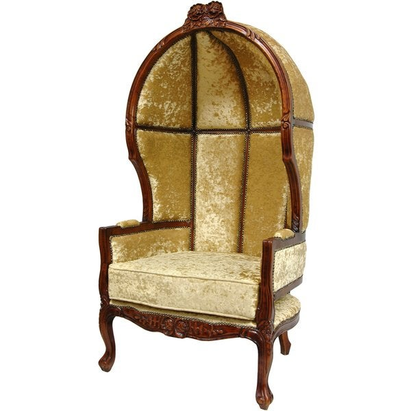 Wood Camel-finish Queen Victoria Balloon Chair (China)