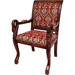Mahogany Crimson Fleurs-De-Lis Queen Anne Sitting Room Chair (China)