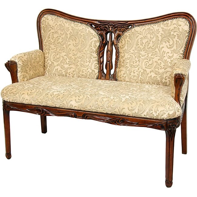 Queen Anne Mahogany Golden Ivy Upholstery Living Room Lounge Couch Sofa Loveseat Ebay