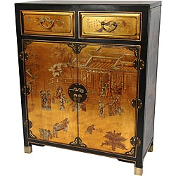 Gold Lacquer Two Drawer Chest (China)