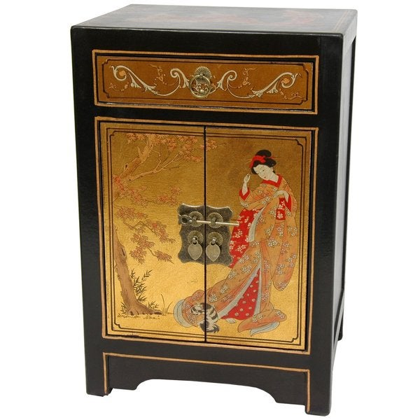 Gold Leaf End Table Cabinet (China)