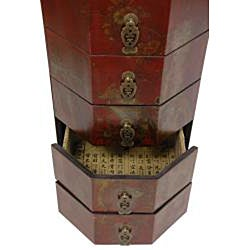 Red Lacquer Five Drawer Octagonal Chest (China)