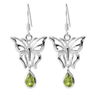 Sterling Silver Peridot Butterfly Drop Earrings (Thailand)