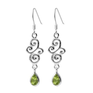 Sterling Silver Peridot Swirl Earrings (Thailand)