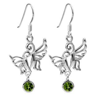 Sterling Silver Peridot Double Butterfly Earrings (Thailand)