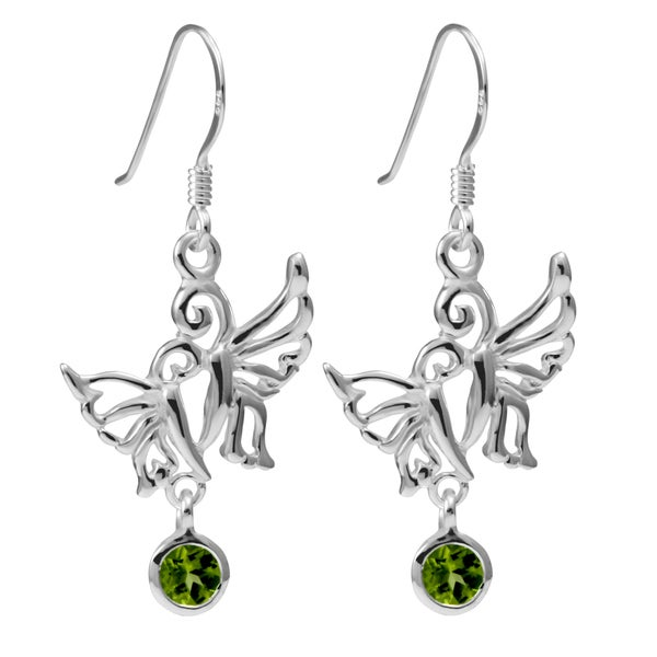 Sterling Silver Peridot Double Butterfly Earrings (Thailand)