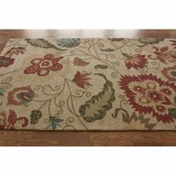 nuLOOM Handmade Indoor/Outdoor Floral Ivory Rug (8' x 10')