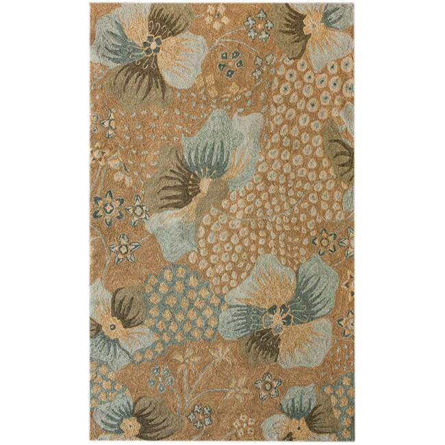 nuLOOM Handmade Indoor/Outdoor Floral Beige Rug (8' x 10')