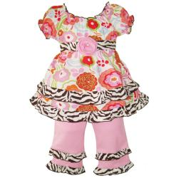 AnnLoren Girls Pink Pretty Chic Floral/Zebra Shirt and Capri Set