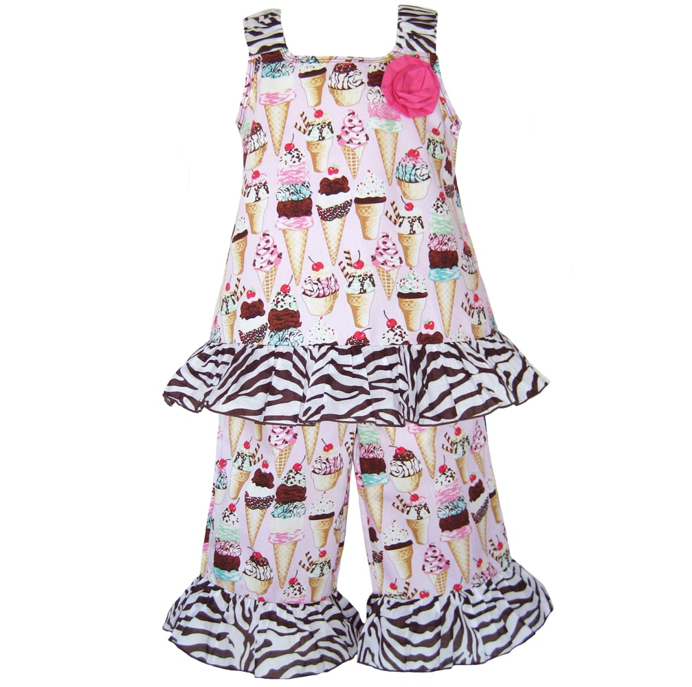 AnnLoren Girls Ice Cream Sunday Printed Capri and Tank Set