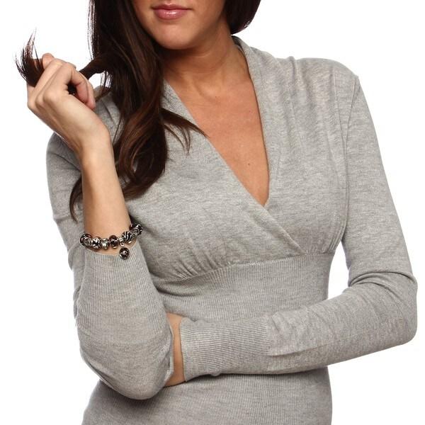 La Preciosa Silverplated Murano-inspired Black Glass Bead Charm Bracelet