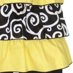 AnnLoren Girl's 2-piece Yellow/ Black Rumba Capri Set