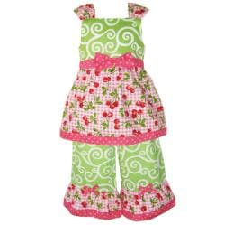 AnnLoren Girl's 2-piece Cherry Tank and Capri Set