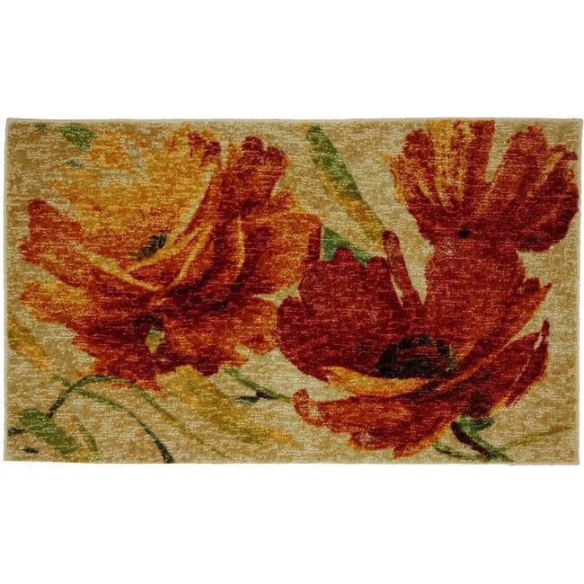 Flamboyant Orange Floral Rug (2'6 x 4'2)