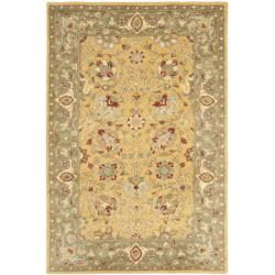 Handmade Traditions Gold/Sage Wool Rug (4' x 6')