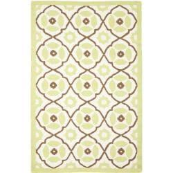 Handmade Sumak Morrocan Ivory/Green Wool Rug (5' x 8')