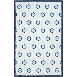 Safavieh Handmade Children's Hexagon Light Blue N. Z. Wool Rug (8' x 10')