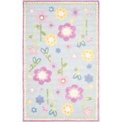 Handmade Spring Flowers Light Blue N. Z. Wool Rug (4' x 6')