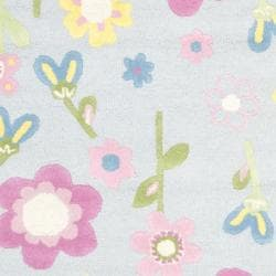 Handmade Spring Flowers Light Blue N. Z. Wool Rug (8' x 10')