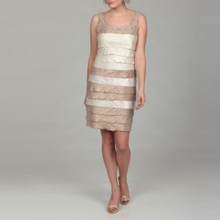 Jessica Howard Women's Ivory/ Beige Beaded Tiered Dress
