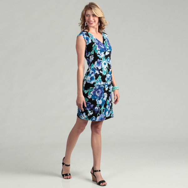 Jessica Howard Women's Black/ Blue Floral Surplice Dress
