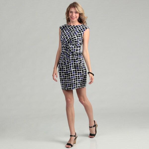 Jessica Howard Women's Blue Geometric Twist Dress