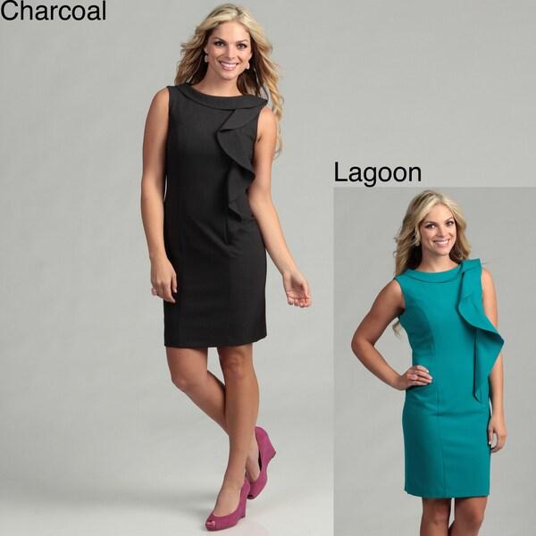 Calvin Klein Women's Ruffle Front Sleeveless Dress