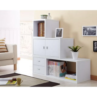 Furniture of America Allure Modular Storage Cabinet in White (Set of 4 )