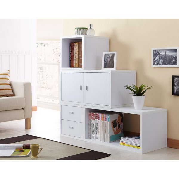 Furniture of america allure modular storage cabinet in white set of 4 14042964 overstock - The allure of the modular home ...