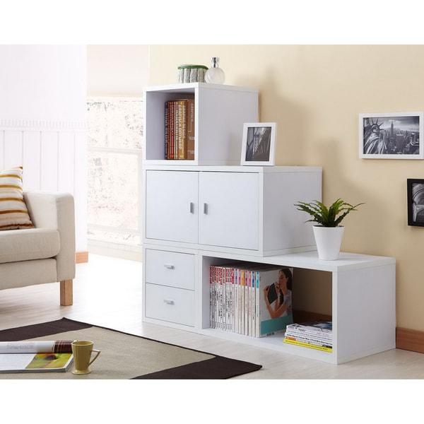 Furniture of America Allure Modular Storage Cabinet in White (Set of 4 )