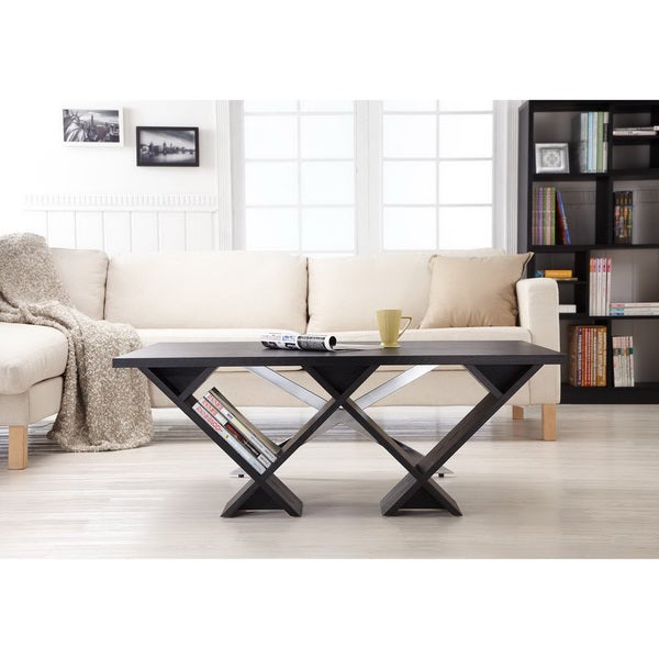 Furniture of America Elle Modern X-Shape Coffee Table in Black Finish