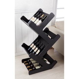 Furniture of America Ventana Black Magazine/ Wine Rack