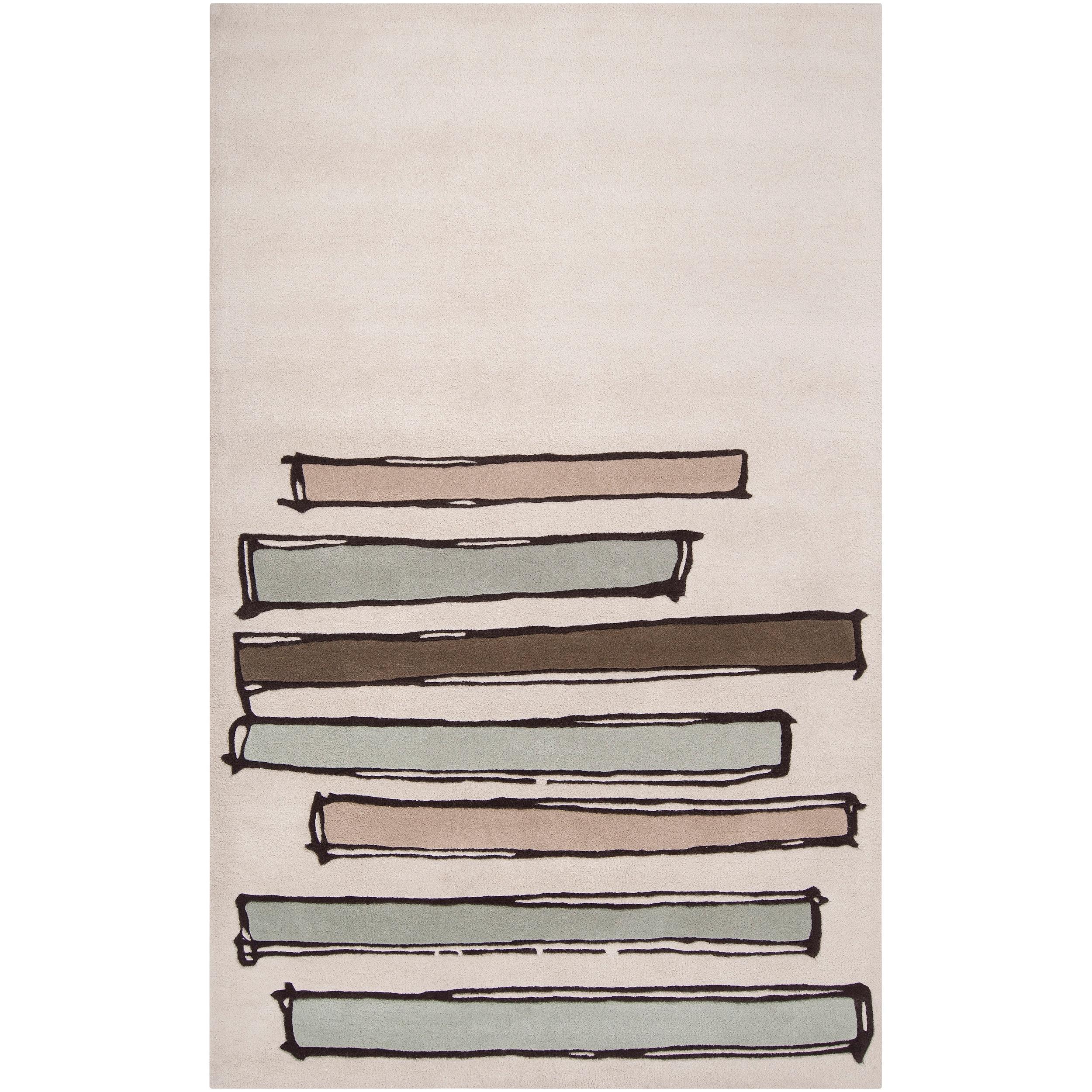Noah Packard Hand-tufted Green/Beige Contemporary Rivera New Zealand Wool Abstract Rug (8' x 11')