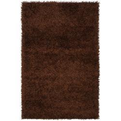 Hand-woven Vivid Soft Shag Rug in Brown (8' x 10')